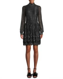 MICHAEL Michael Kors Mock-Neck Long-Sleeve Cinched-Waist Beaded Lace A-Line Dress at Neiman Marcus