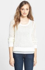 MICHAEL Michael Kors Open Stitch HighLow Sweater in white at Nordstrom