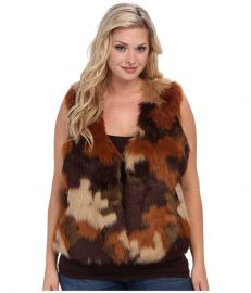 MICHAEL Michael Kors Plus Size Cropped Faux Fur Vest Caramel at 6pm