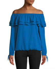 MICHAEL Michael Kors Ruffled Off-the-Shoulder Peasant Blouse at Neiman Marcus
