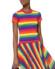 MICHAEL Michael Kors Short-Sleeve Rainbow Sweater Women - Bloomingdale s at Bloomingdales