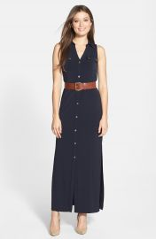 MICHAEL Michael Kors Sleeveless Maxi Shirtdress  Petite at Nordstrom