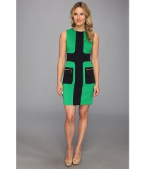 MICHAEL Michael Kors Sleeveless Zip Pocket Dress Spring Green at Zappos