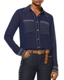 MICHAEL Michael Kors Studded Button-Down Shirt Women - Bloomingdale s at Bloomingdales