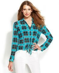 MICHAEL Michael Kors Tie-Front Plaid Shirt - Women - Macys at Macys