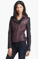 MICHAEL Michael Kors Two Tone Washed Leather Jacket at Nordstrom