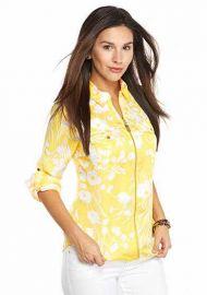 MICHAEL Michael Kors Zip Front Roll Sleeve Shirt  at Macys