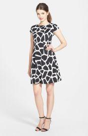 MICHAEL Michael Kors and39Antaliaand39 Giraffe Print Fit andamp Flare Dress in black at Nordstrom