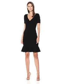 MILLY Knit Shirred V-Neck Short Sleeve Dress with Flared Hem at Amazon