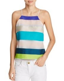 MILLY Striped Camisole with Draped Back at Bloomingdales