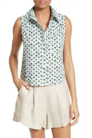 MILLY   Bambino Palm Print Tie Back Top   Nordstrom Rack at Nordstrom Rack