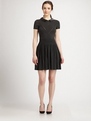 MILLY - Josephine Leather-Collared Stretch Knit Dress at Saks Fifth Avenue