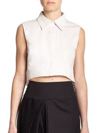 MILLY - Sleeveless Cropped Top in White at Saks Fifth Avenue