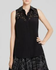 MILLY Blouse - Jane Leather Collar Lace Silk at Bloomingdales