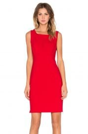 MILLY Double Crepe Zip Sheath Dress in Red at Revolve