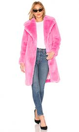 MILLY Riley Long Faux Fur Coat in Bubblegum from Revolve com at Revolve
