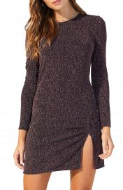 MINKPINK Metallic Texture Long Sleeve Minidress   Nordstrom at Nordstrom