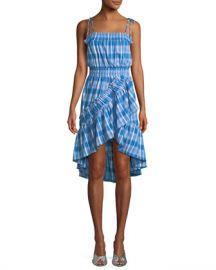 MISA Los Angeles Fernanda Check-Print Ruffled High-Low Dress at Neiman Marcus
