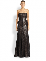 ML Monique Lhuillier - Strapless Sequined Mermaid Gown at Saks Fifth Avenue