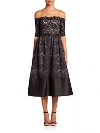 ML Monique Lhuillier Off-The-Shoulder Lace Midi Dress at Saks Fifth Avenue
