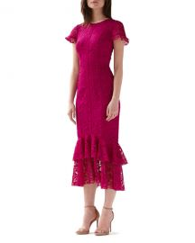ML Monique Lhuillier Short-Sleeve Tiered Ruffle-Hem Lace Dress at Neiman Marcus