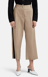 MM6 Maison Margiela Satin-Striped Cotton Crop Wide-Leg Trousers at Barneys
