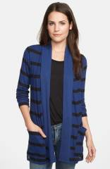 MODlusive by Bobeau Open Front Cardigan in blue stripe at Nordstrom