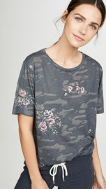 MONROW Camo Oversized Crew Tee with Floral at Shopbop