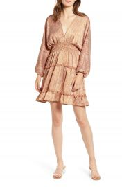 MOON RIVER Smocked Ruffle Trim Minidress   Nordstrom at Nordstrom