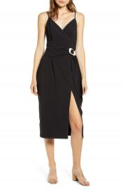 MOON RIVER Wrap Front Knee Length Dress   Nordstrom at Nordstrom