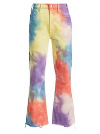 MOTHER - Hustler High-Rise Ankle Crop Fray Rainbow Tie Dye Jeans at Saks Fifth Avenue