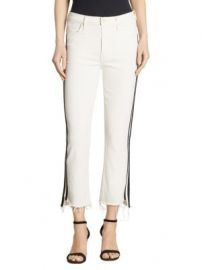 MOTHER - Insider Striped Cropped Step Hem Jeans at Saks Fifth Avenue