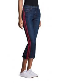 MOTHER - Insider Striped Raw-Edge Step Hem Jeans at Saks Fifth Avenue