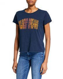 MOTHER Goodie Goodie Short-Sleeve Boxy Cotton Tee w  Embroidery at Neiman Marcus
