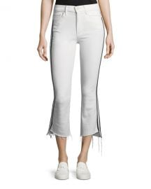 MOTHER Insider Crop Step-Fray Straight-Legs Jeans W  Racing Stripes at Neiman Marcus
