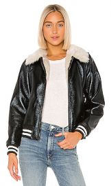 MOTHER The Faux Fur  amp  Vegan Leather Moto Jacket in Whiskey Lullaby from Revolve com at Revolve