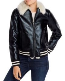 MOTHER The Faux Fur-Lined Bomber Jacket Women - Bloomingdale s at Bloomingdales
