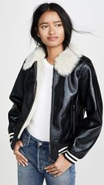 MOTHER The Faux Fur Moto Jacket at Shopbop