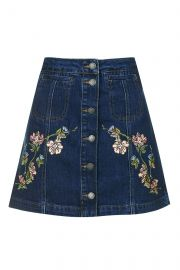 MOTO Floral Embroidered Skirt at Topshop
