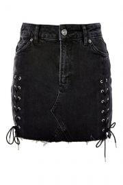 MOTO Lace Up Denim Mini Skirt at Topshop
