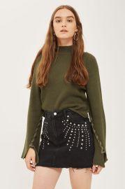 MOTO Studded Denim Mini Skirt at Topshop