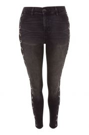 MOTO Washed Black Lace Up Jamie Jeans - Shop All Jeans - Jeans at Topshop