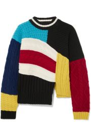MSGM - Maglia asymmetric color-block cable-knit sweater at Net A Porter