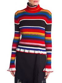 MSGM - Striped Turtleneck Sweater at Saks Off 5th