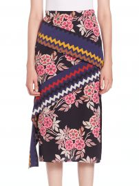 MSGM  Floral Chevron Midi Skirt at Saks Fifth Avenue