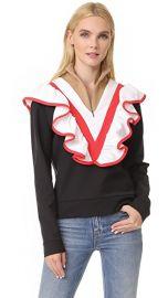 MSGM Half Zip Ruffle Pullover at Shopbop