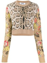 MSGM Leopard Print Cropped Sweater - Farfetch at Farfetch