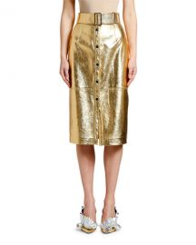 MSGM Metallic Belted Midi Skirt at Neiman Marcus