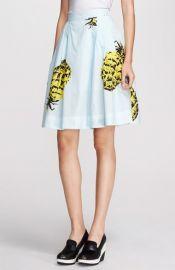MSGM Pineapple Print Full Cotton Skirt at Nordstrom