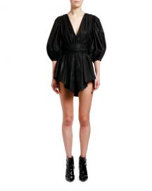 MSGM Plunging Puff-Sleeve Belted Mini Dress at Neiman Marcus